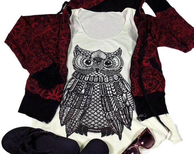 Owl  tank top for women - Yoga  Exercise - White Top - Owl Top