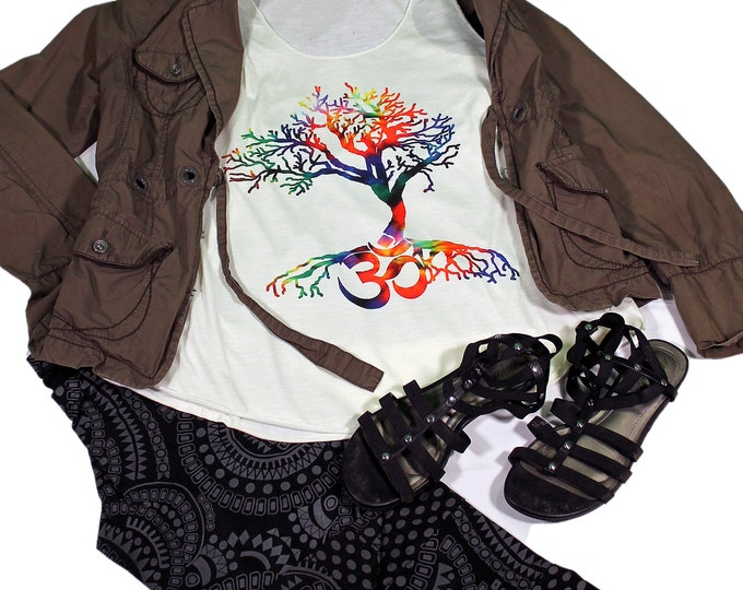 Tree of Life Tank Top - Yoga Tank  top for women - Yoga  Exercise - White Top -Meditation Top - Om Top