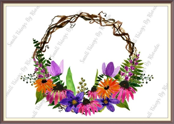 Spring Watercolor Wreath Clip Art Home Decor Commercial Etsy