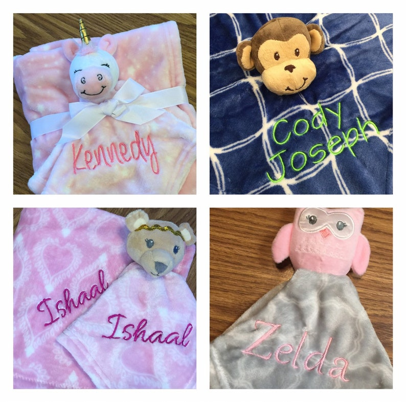 Embroidered Baby Blanket and Matching Embroidered Security image 0