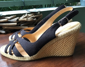 f940ee6e2dec1f Faconnable vintage 70s style canvas straw black wedge heels shoes EU 39