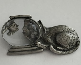 Vintage Signed JJ Jonette Jewelry - Naughty Cat and the Fish Bowl Brooch - Pewter Tone