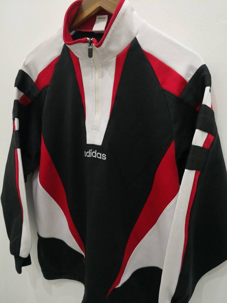 461ce3ff11 Vintage 90s ADIDAS training jacket track top zippered black