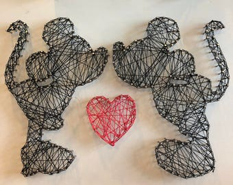 Made to Order Kissing Mickey and Minnie String Art, Disney String Art, Mickey, Minnie, Wall Art, Home Decor