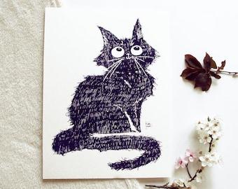 Screen print - Cat Illustration-purple