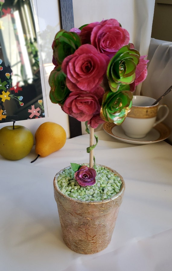 Pink and green faux paper flower topiary in decoupage etsy image 0 mightylinksfo