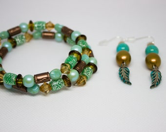 Brown and Teal jewelry set