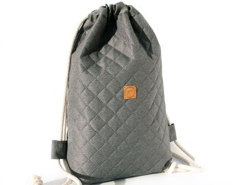 Minimalist Backpack Woman, Quilted Backpack, Grey Drawstring Backpack, Woman Bag, Backpack for Woman, Waterproof, Original, High Quality