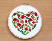 Wedding Cross Stitch Pattern Flower Heart Poppy Heart Modern Embroidery Wedding Sampler Counted Cross Stitch pillow floral cross stitch