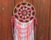 Pink and White Crochet Dream Catcher 6 quot wood ring