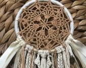 Tan and Beige Crochet Dream Catcher 3 quot ring