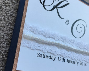 Navy and Rose Gold Pearl Detail Wedding Invitations