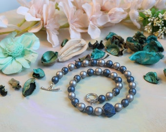 Beads with pearl Majorca and azurite