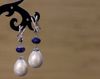 Earrings with lapis lazuli and pearls Mallorca, silver-plated