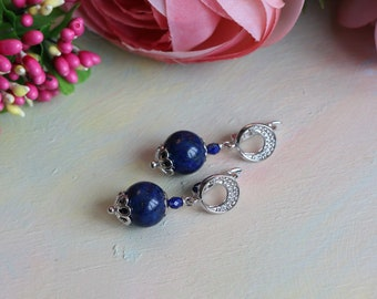 Earrings with lapis lazuli, silver-plated