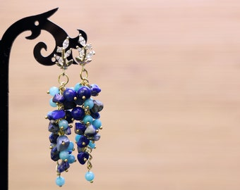 Earrings  with lapis lazuli and aquamarine, gold-plated