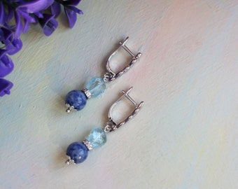 Earrings with lapis lazuli and beryl, silver-plated