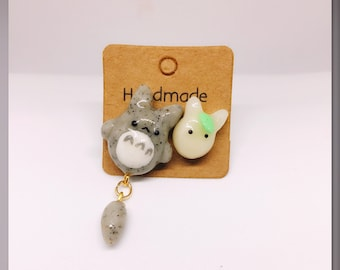 Totoro inspired studs, anime earrings, anime jewelry