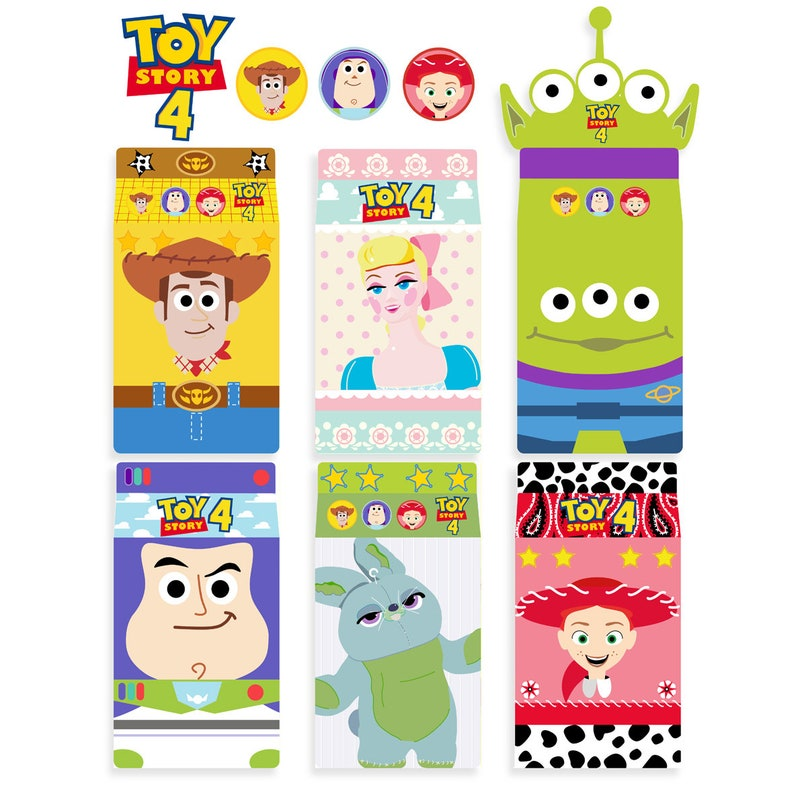 Buzz Lightyear Favor Boxes Forky Digital printable Toy Story 4 birthday printables,Toy Story Treat Boxes Forky Birthday