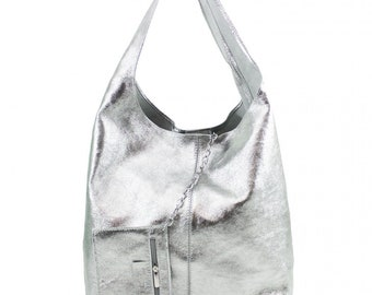 64468b74605 Italian Suede Leather Large Slouch Hobo Shoulder Handbag Tote Bag-Silver