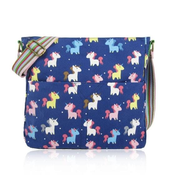 Unicorn Bag Printed Canvas Crossbody Bag Purse Bag for Girls Women Shoulder Bag
