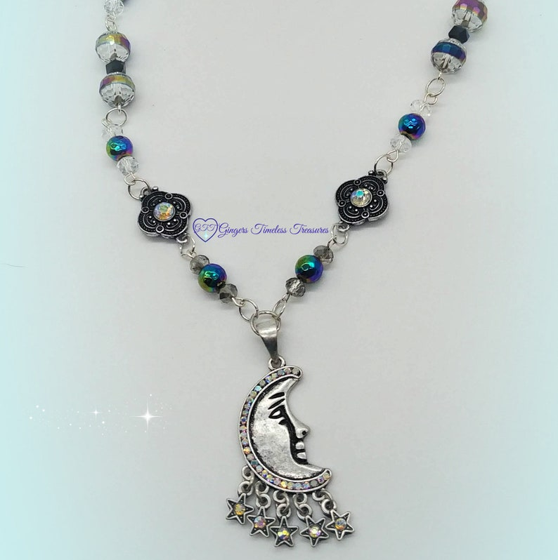 Handmade Crescent Moon and Stars Necklace