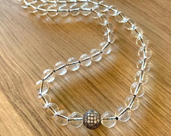 Healing Mala Beads, Quartz and Cubic Zirconia