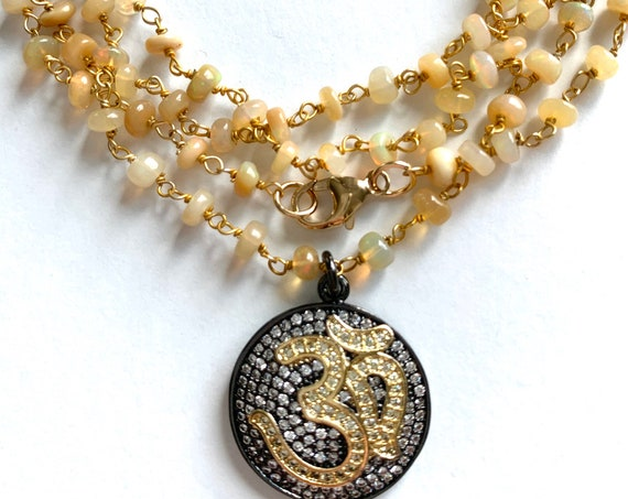 Rosary Style Om Necklace, Opal and Cubic Zirconia