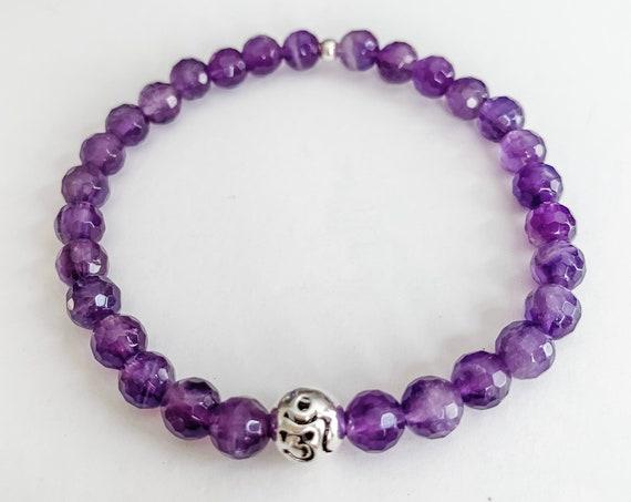 Amethyst Om bracelet, Sterling Silver