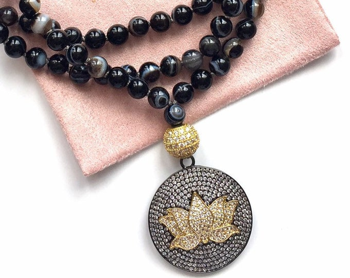 Featured listing image: The Happy Lotus Mala, Sardonyx and Cubic Zirconia Lotus Flower Amulet