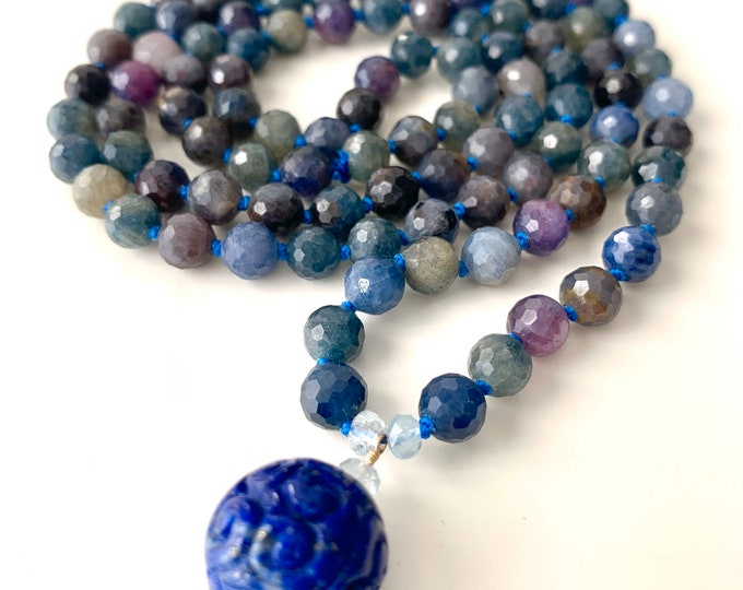 Featured listing image: The Mala for Wisdom and Intuition, Sapphire, Lapis and Aquamarine