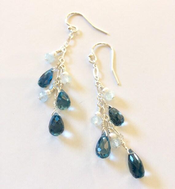 Azure Goddess Earrings, London Blue Topaz, Aquamarine and Pearl