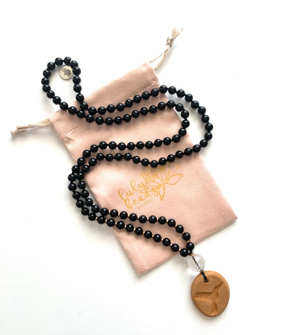 Mala Beads for Strength and Protection, Black Onyx, Quartz, Rose Gold Plated Hematite, Oil Diffuser Collection