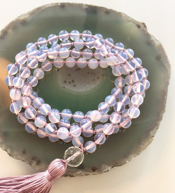 The Mala for Success and Self-Worth, Opalite and Clear Crystal Quartz