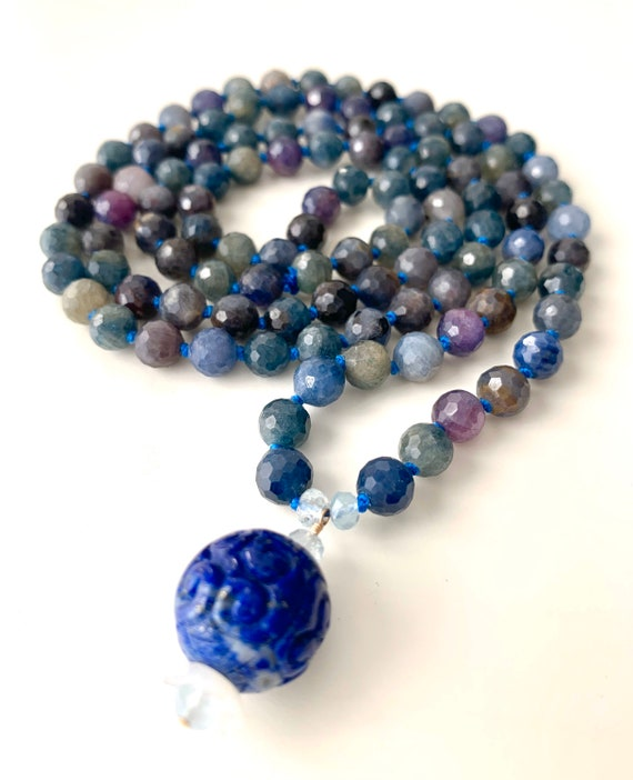 The Mala for Wisdom and Intuition, Sapphire, Lapis and Aquamarine