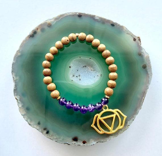 Third Eye Chakra Balancing Bracelet, Amethyst and Sandalwood with Anja Charm