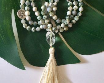 Meditation Beads, Buddhist Prayer Beads, Mala Beads 108, Mala for Abundance, Mala for Hope, Vrkasana Mala, Japa Mala 108, Tassel Necklace