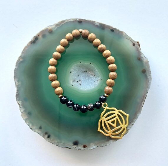 Root Chakra Balancing Bracelet, Sardonyx and Sandalwood with Root Chakra Charm