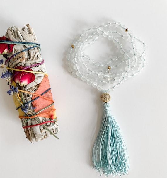 Moon Goddess Mala Beads, Rainbow Moonstone and Cubic Zirconia