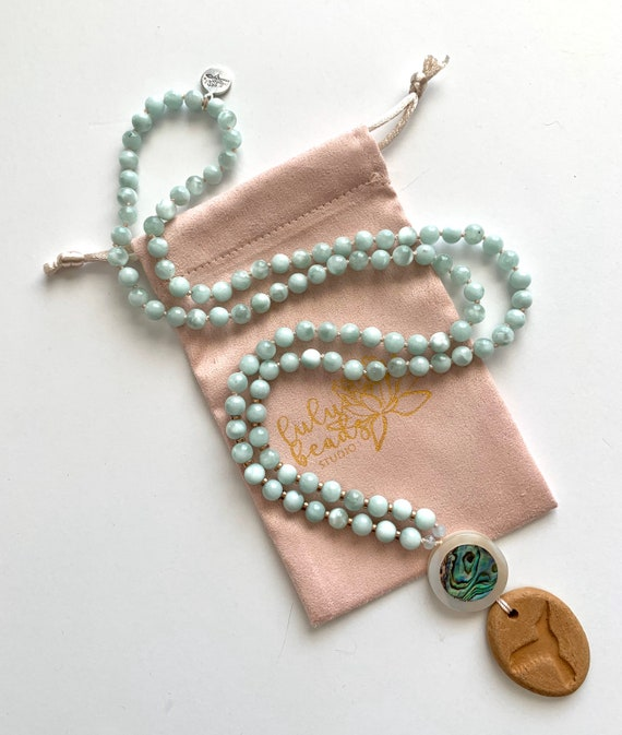 The Guardian Angel Mala, Green Angelite, Mother of Pearl and Terra Cotta, Oil Diffuser Collection