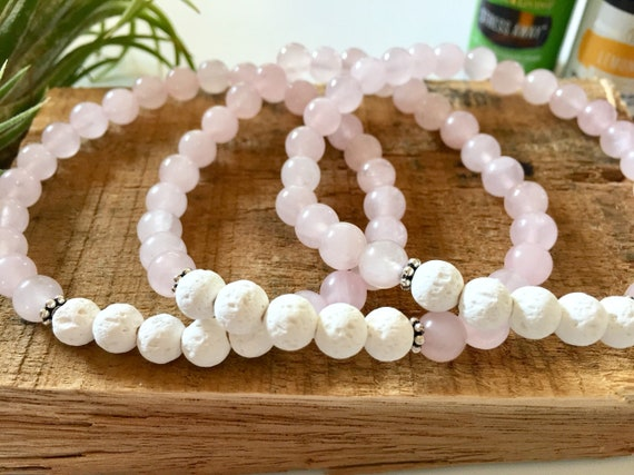Mala Bracelets for Love and Strength, Rose Quartz and White Lava, Oil Diffuser Collection