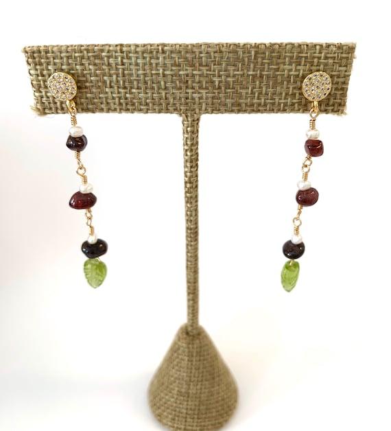 Garnet, Pearl and Peridot Earrings
