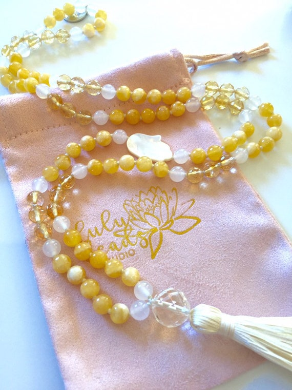 The Personal Power Mala, Yellow Calcite, Citrine, White Agate and Quartz with Mother of Pearl Hamsa Charm