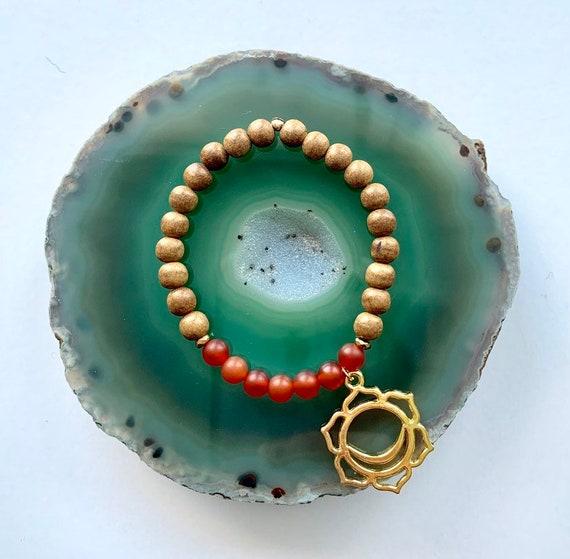Sacral Chakra Balancing Bracelet, Carnelian and Sandalwood with Sacral Chakra Charm