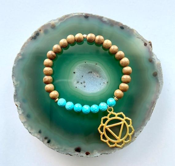 Throat Chakra Balancing Bracelet, Magnesite and Sandalwood with Throat Chakra Charm