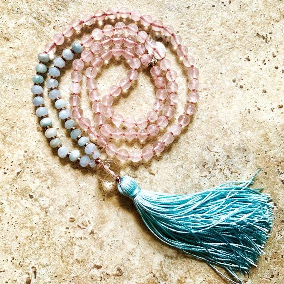Mala Beads for Love, Friendship and Protection, Rose Quartz, Aquamarine, Hematite and Clear Quartz