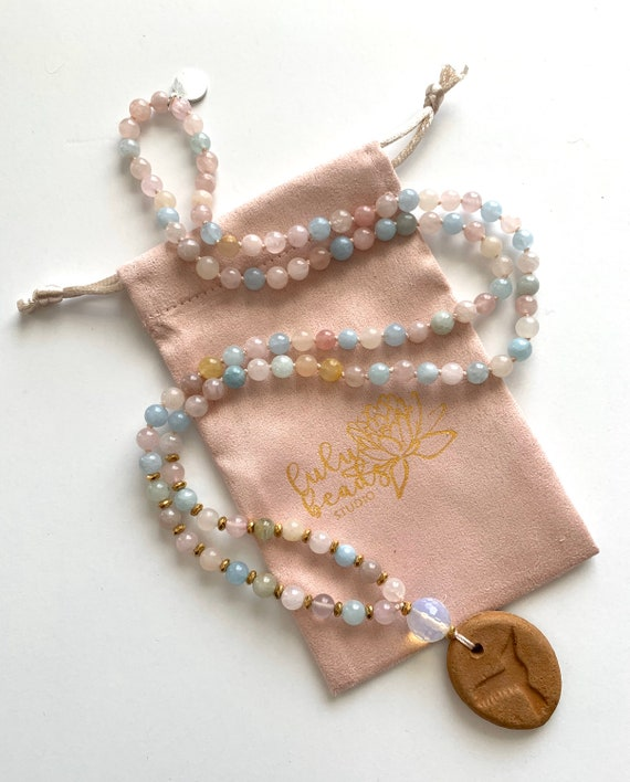 The Mala for Love and Emotional Healing, Morganite, Quartz and Hematite, Oil Diffuser Collection