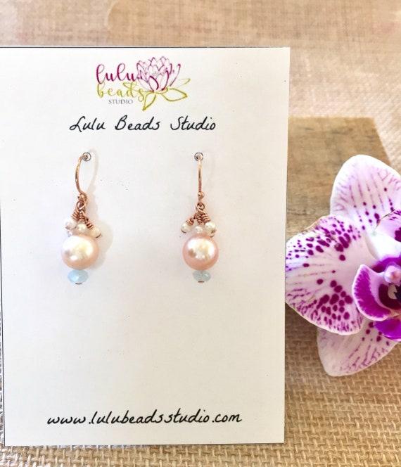 Mermaid Goddess Earrings, Cultured Pink Pearls, Seed Pearls and Aquamarine
