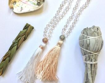 Bridal Mala, Meditation Beads, Buddhist Prayer Beads, Mala beads 108, Mala for Healing, Mala for Brides, Quartz Mala, Mala for Bridesmaids