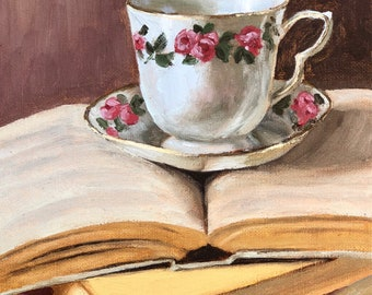 Original oil painting of books and teacup, reading art, library decor, unique gift for a book lover